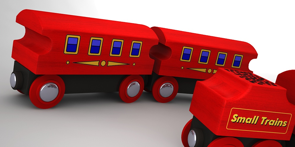Wooden toy train by Planet Indifferent